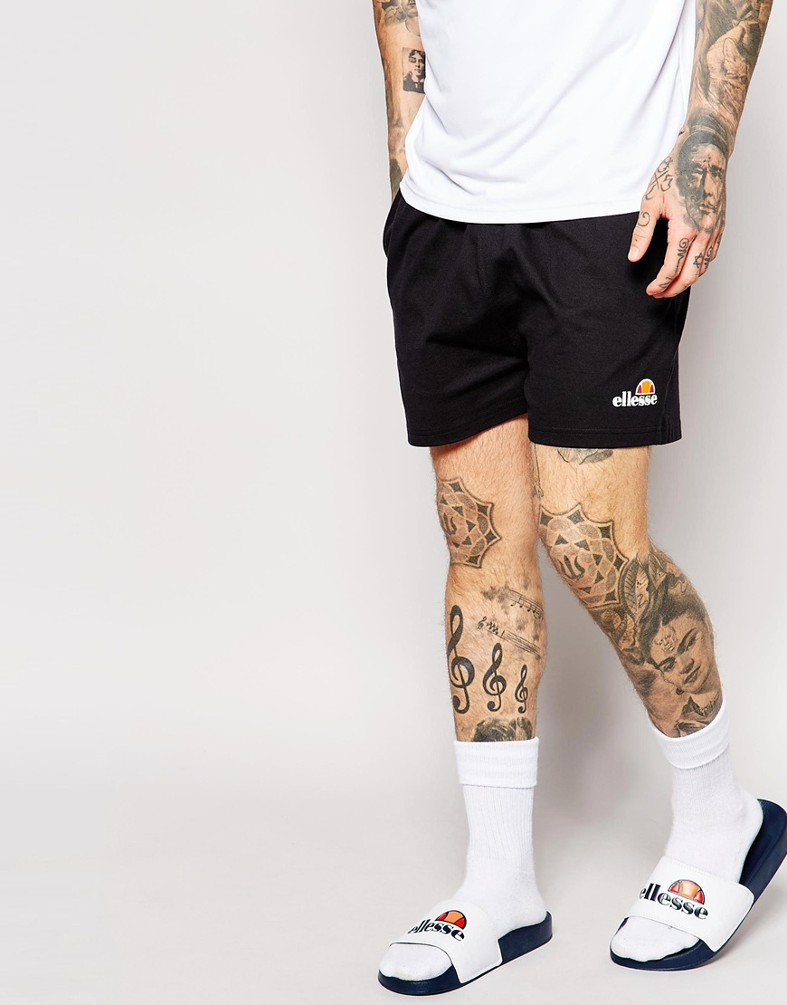 ellesse retro jersey shorts in black for lyst