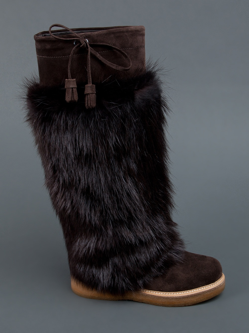 Moncler Beaver Fur Boot In Brown Lyst