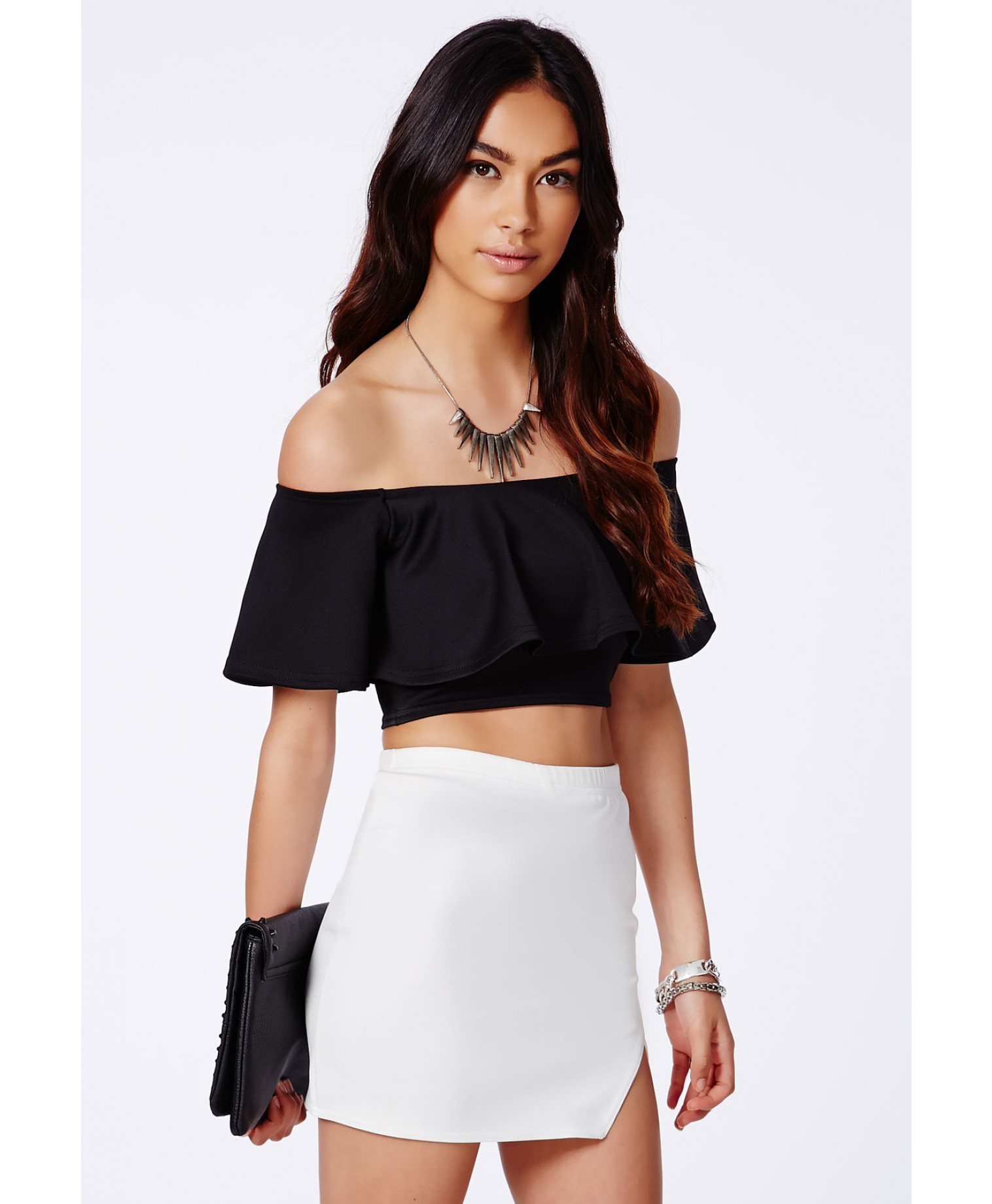 5f87866ce6559 Lyst - Missguided Sirinda Black Bardot Frill Crop Top in Black