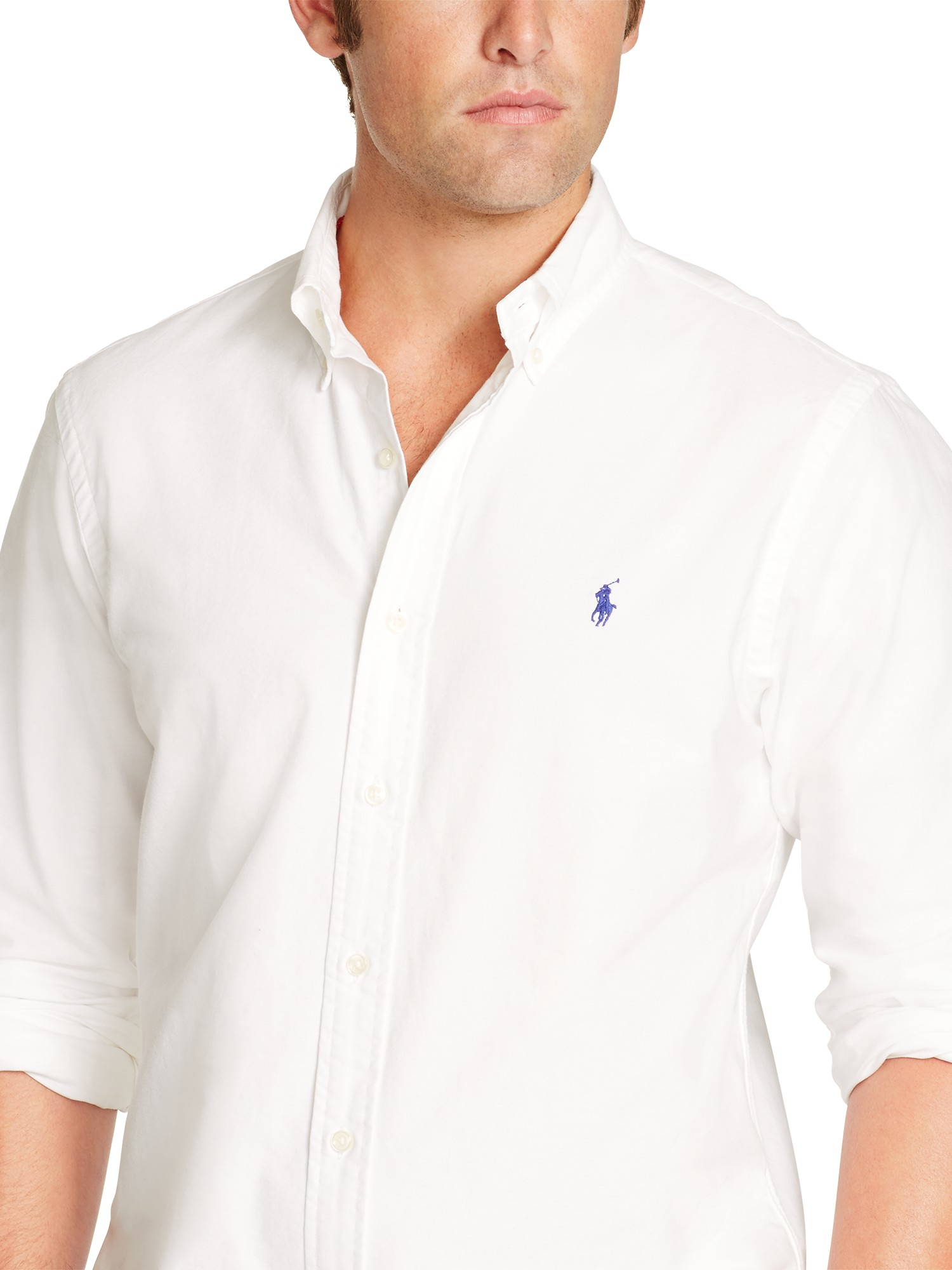 Polo ralph lauren slim fit oxford shirt in white for men for Slim fit collared shirts