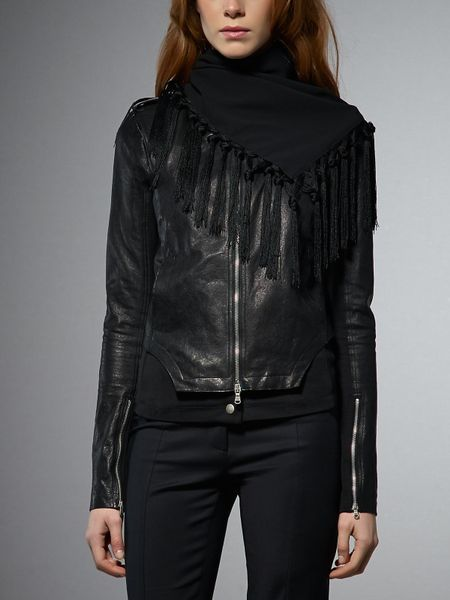 Patrizia Pepe Leather Jacket With Stretch Fabric Inserts in Black