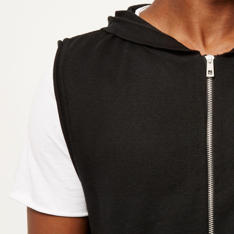 Black Sleeveless Zip Up Hoodie
