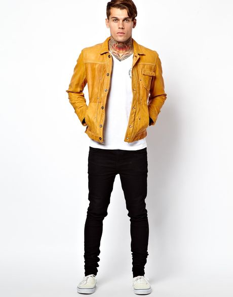 Military Style Vintage Mens Yellow Leather Jacket | UK Leather Factory