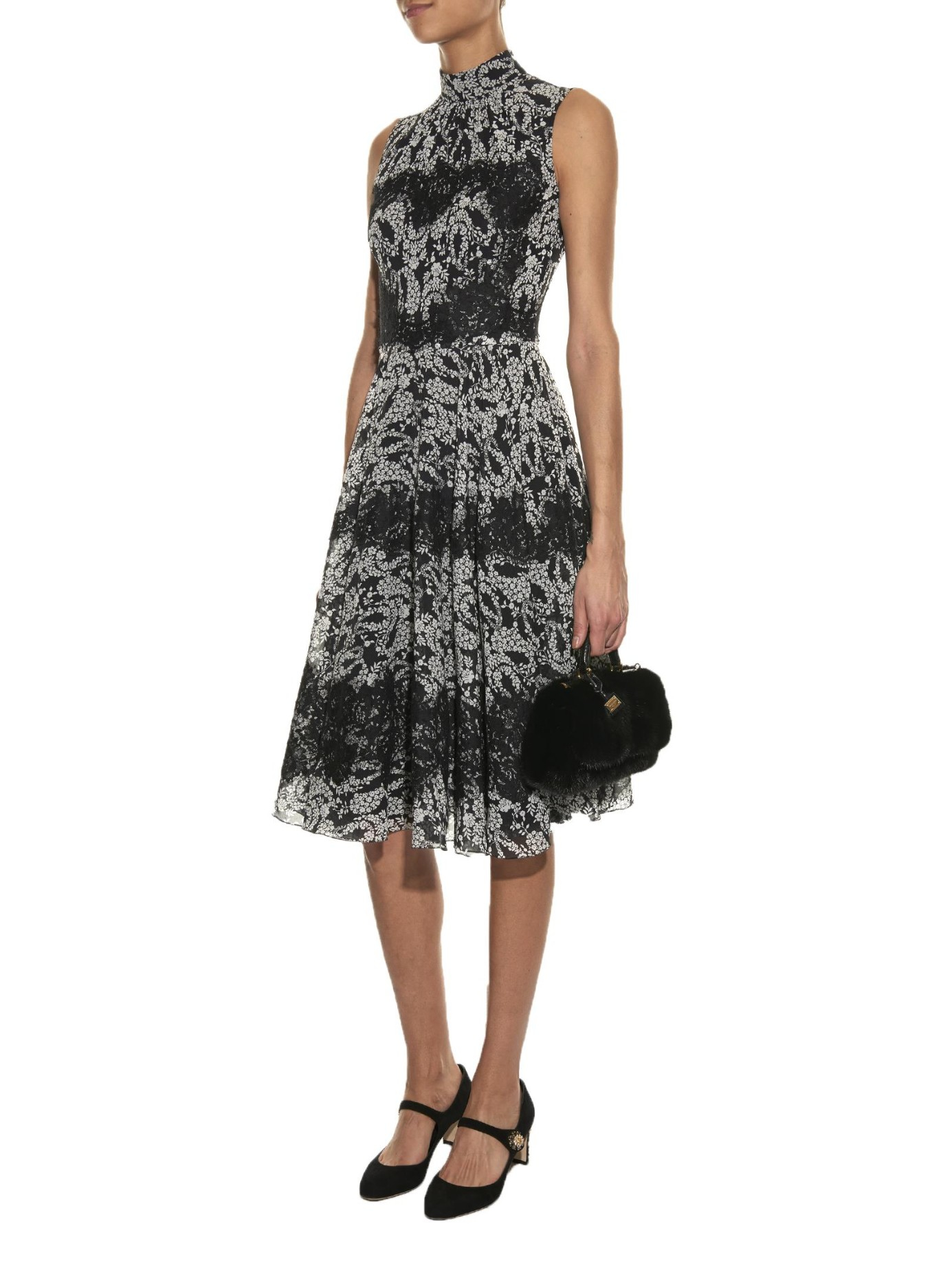 Dolce Amp Gabbana Lace Panel Bouquet Print Dress In Black Lyst