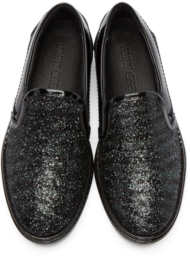 Lyst Jimmy Choo Black Glitter Grove Sneakers In Black
