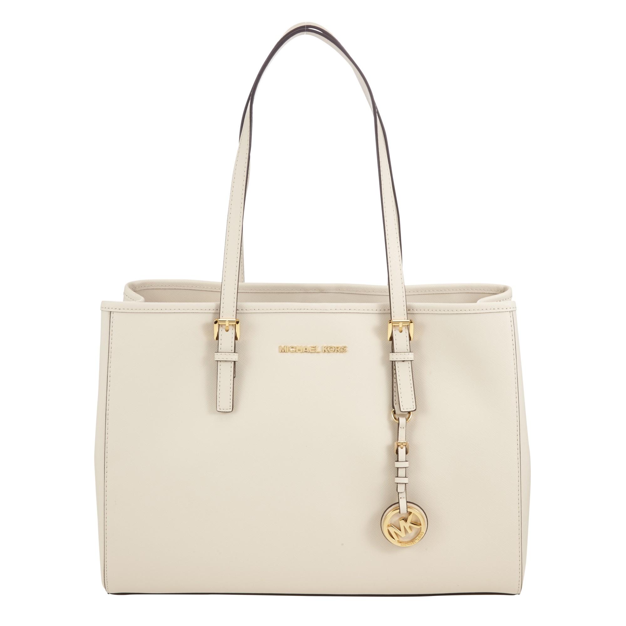 Cream Michael Kors Handbag Jet Set Eastwest Large Leather Tote Bag