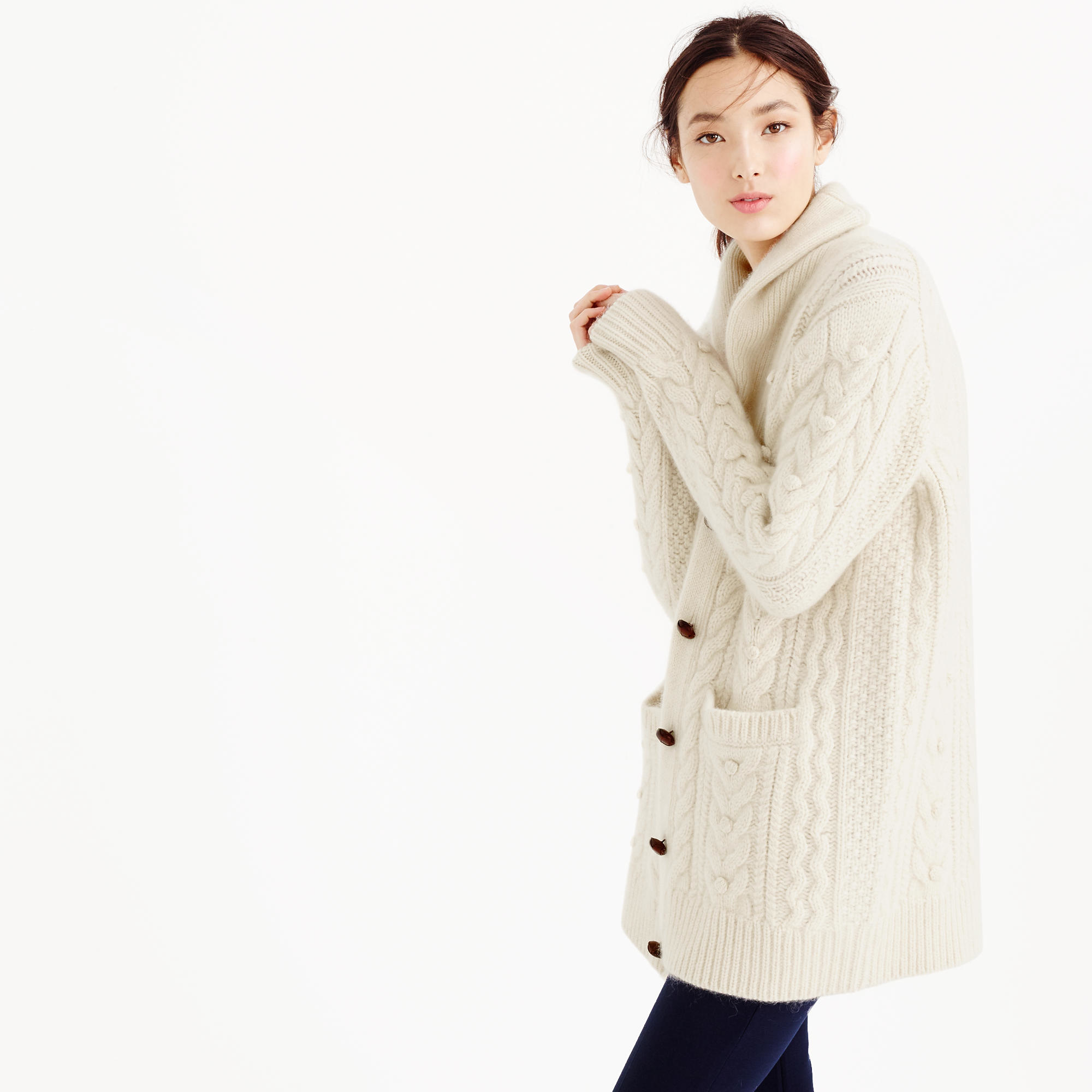 J.crew Collection Cashmere-mohair Cable Cardigan Sweater in White ...