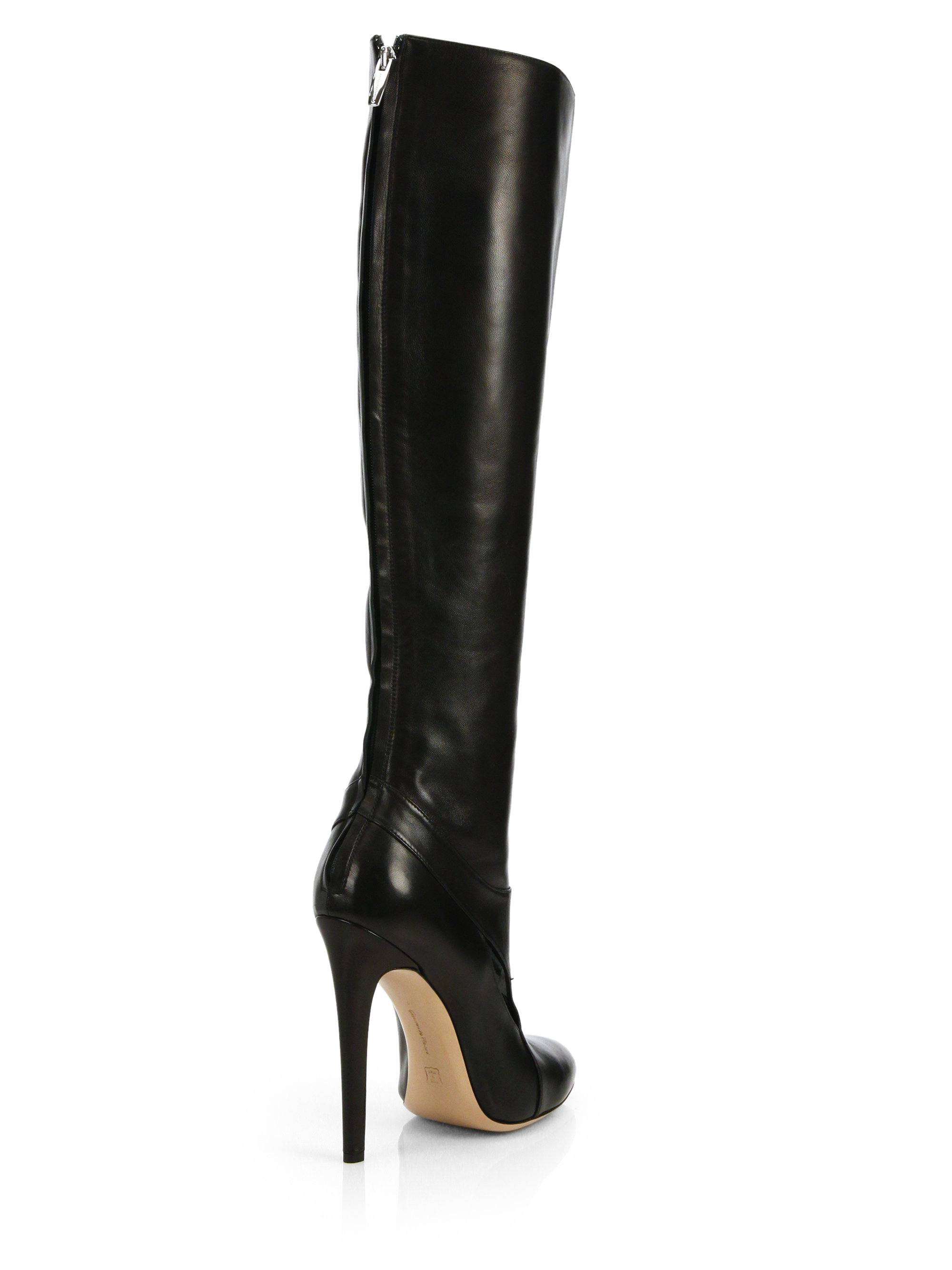 Altuzarra Cutout Leather Knee-High Boots in Black | Lyst