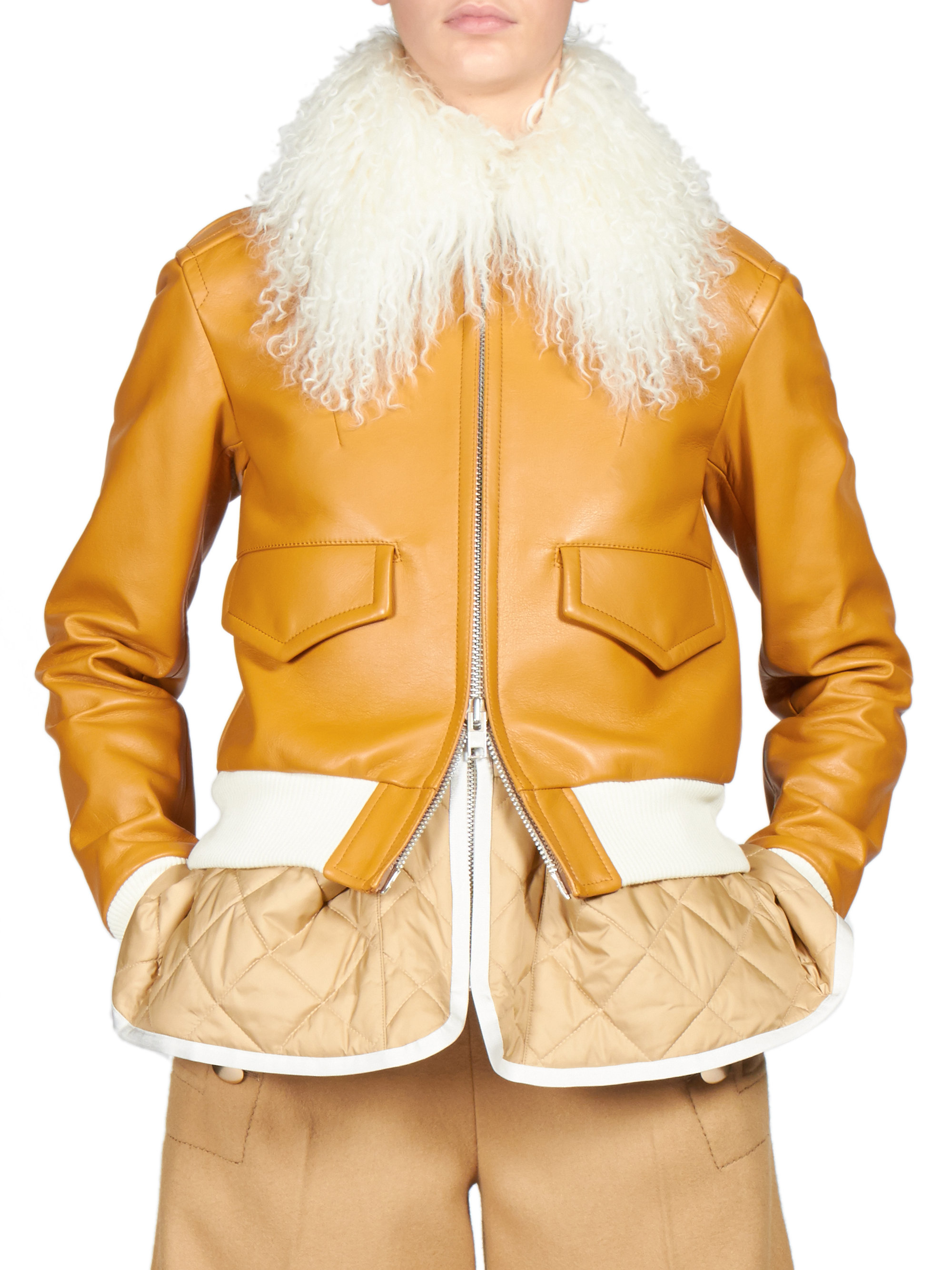 Lyst Sacai Luck Fur Collar Leather Bomber Jacket In Brown