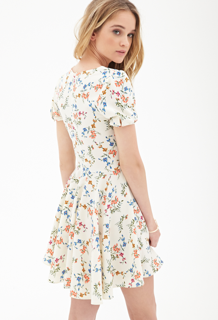 Forever 21 Floral Foliage Skater Dress | Lyst