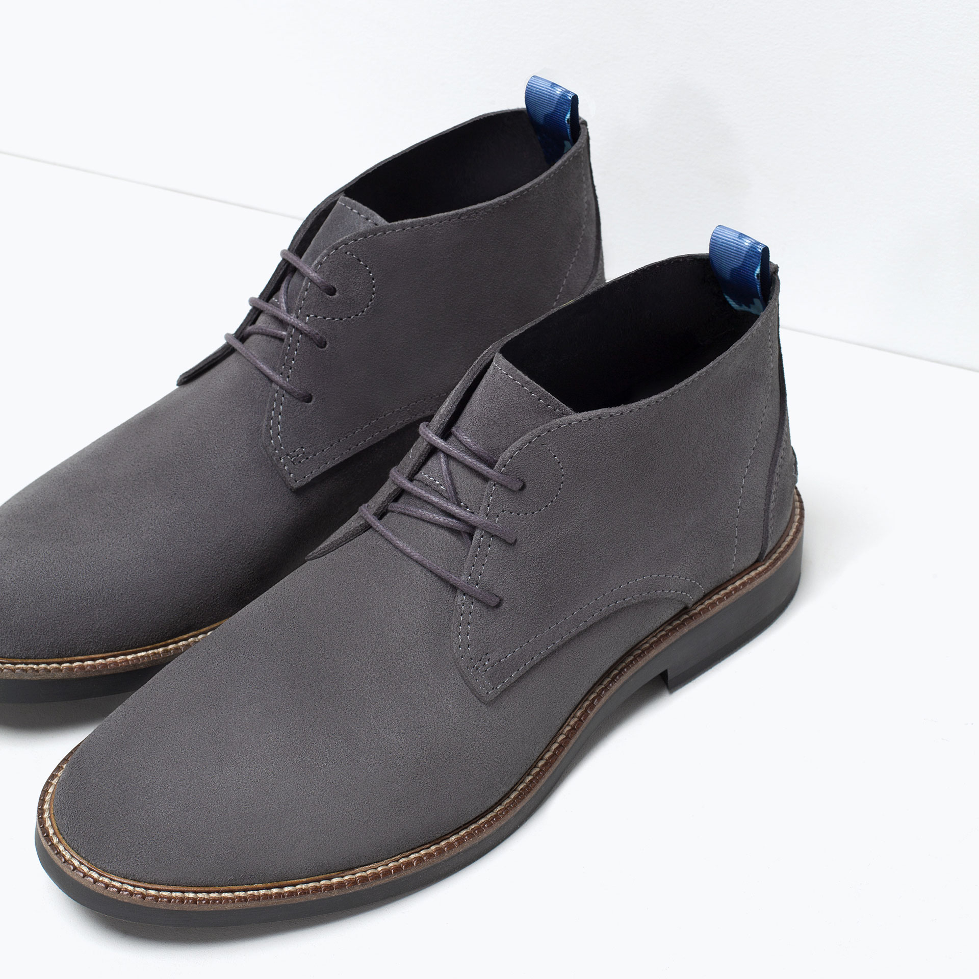 Zara Leather Desert Boot Leather Desert Boot In Gray For