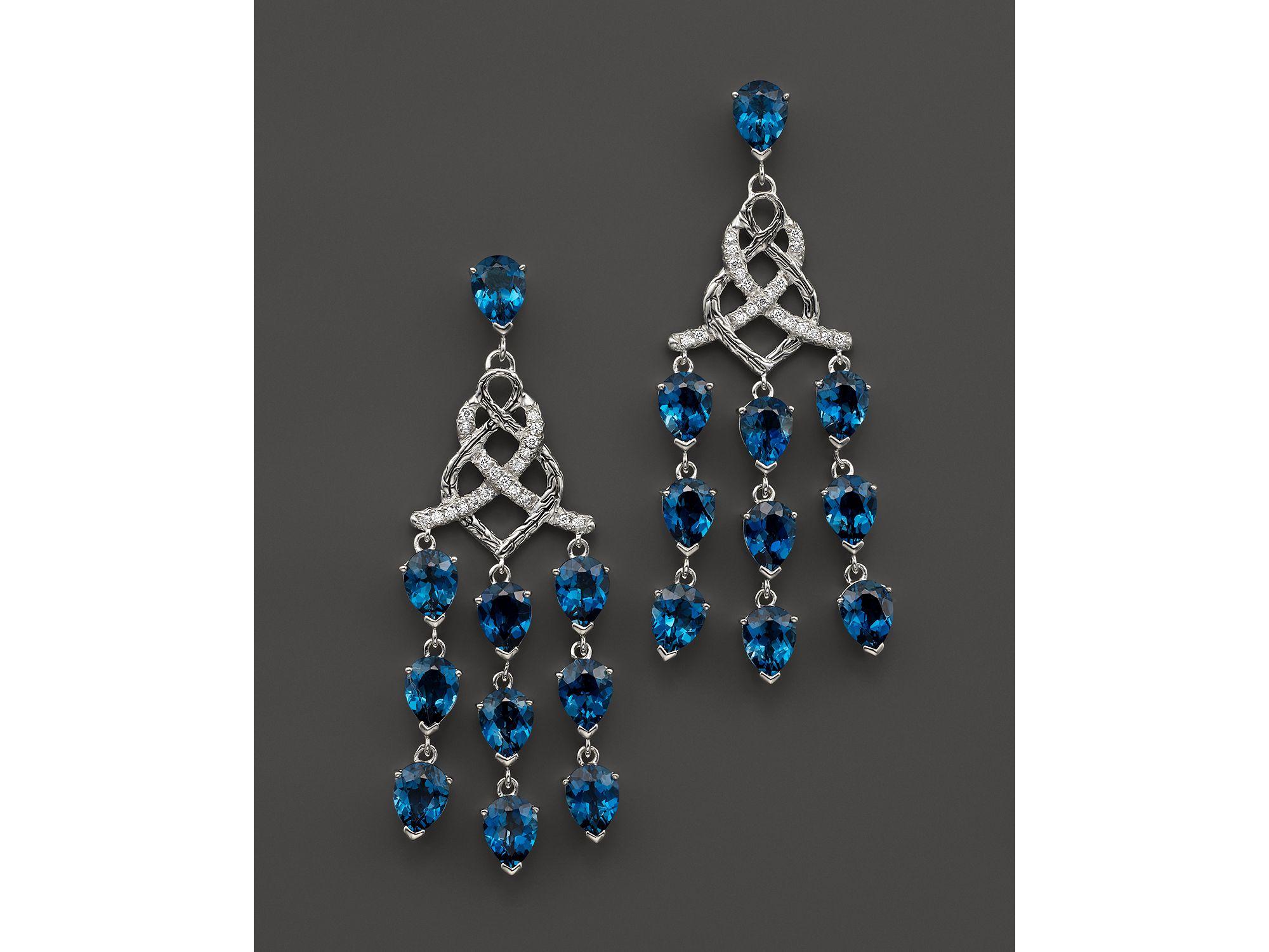 John hardy Sterling Silver Classic Chain Chandelier Earrings With