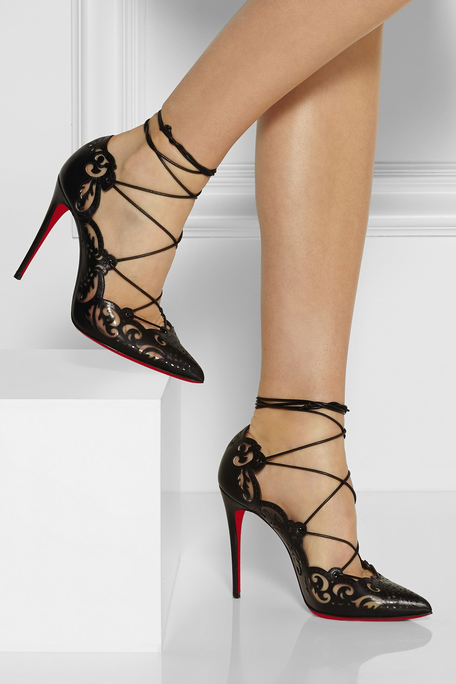 Lyst Christian Louboutin Impera Lasercut Leather And Pvc