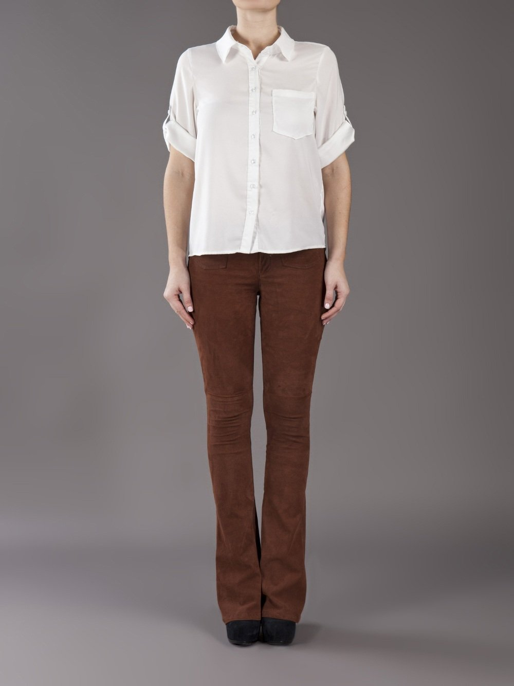 Goldsign Blossom Flare Jean in Brown | Lyst