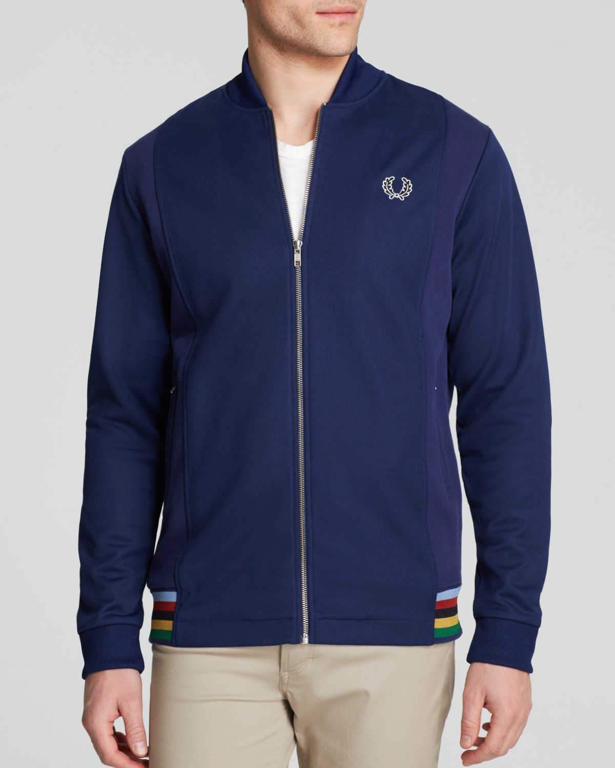 fred perry bomber neck track jacket in blue for men lyst. Black Bedroom Furniture Sets. Home Design Ideas