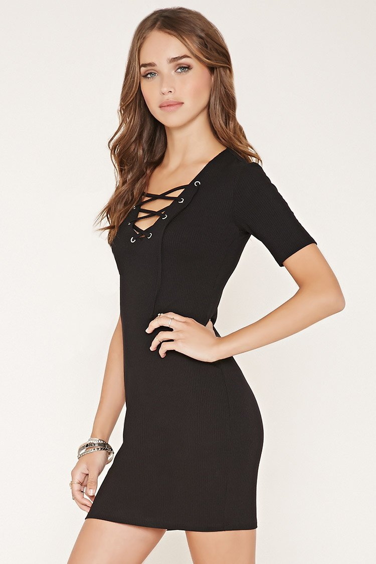 Forever 21 Ribbed Lace-up Bodycon Dress in Black - Lyst 01d0a0ff0