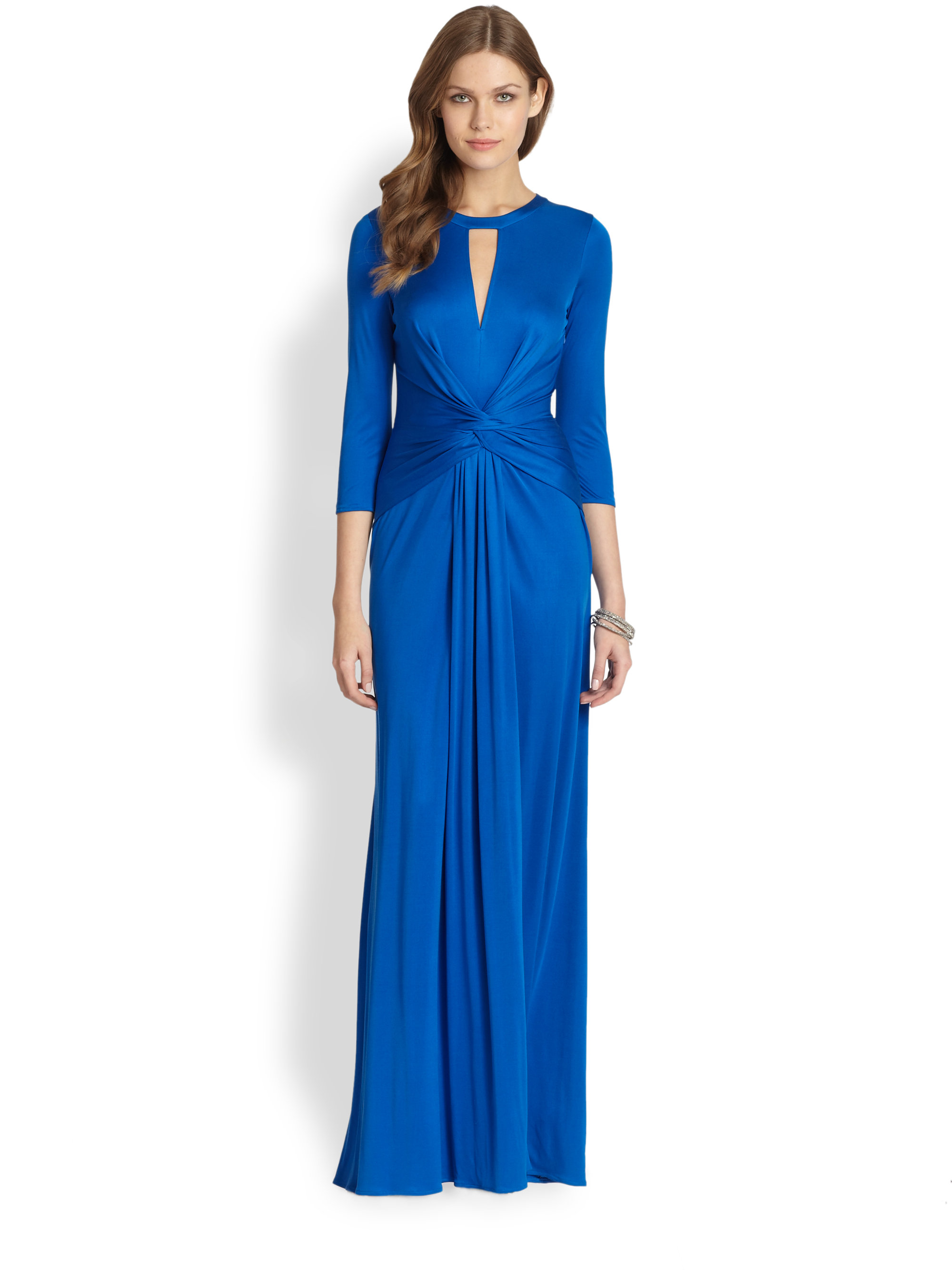 Issa Silk Jersey Long Sleeve Gown in Blue | Lyst