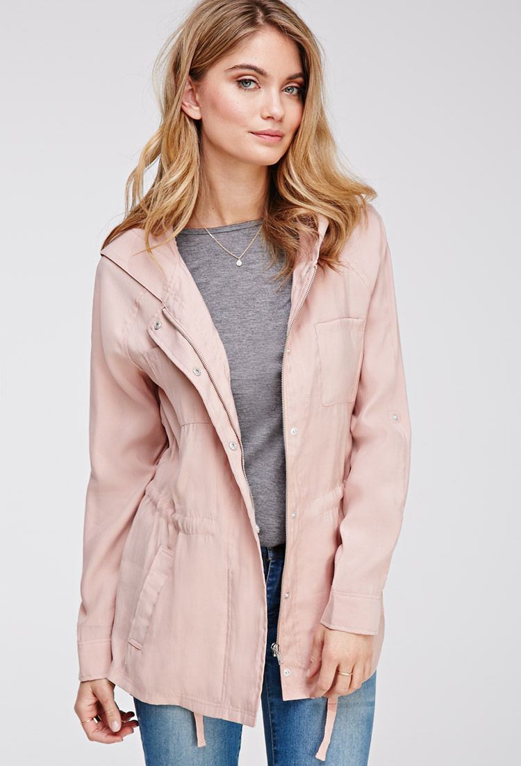 Forever 21 Contemporary Hooded Twill Field Jacket in Pink | Lyst
