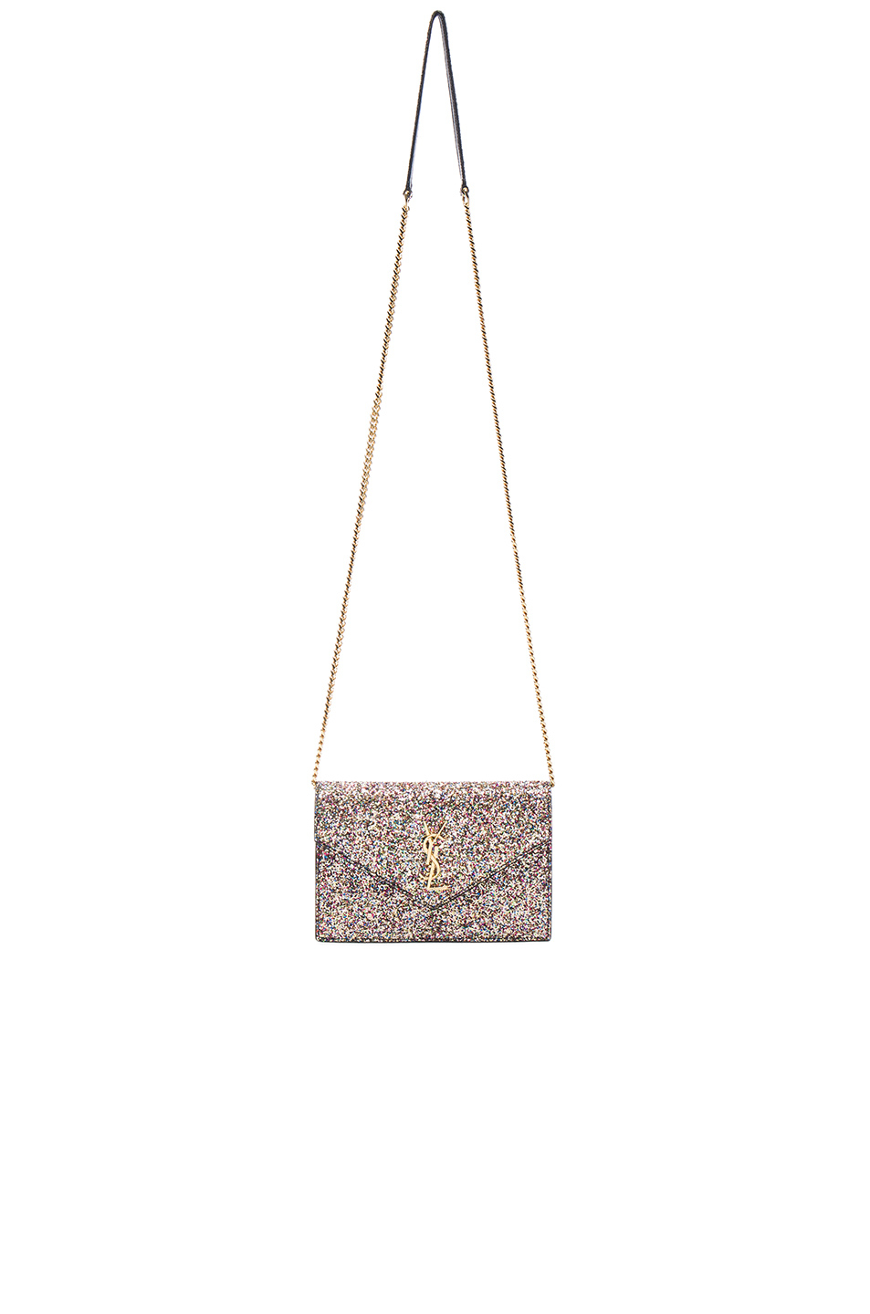 41f9a2ab60 Lyst - Saint Laurent Monogramme Glitter Envelope Chain Wallet in Pink
