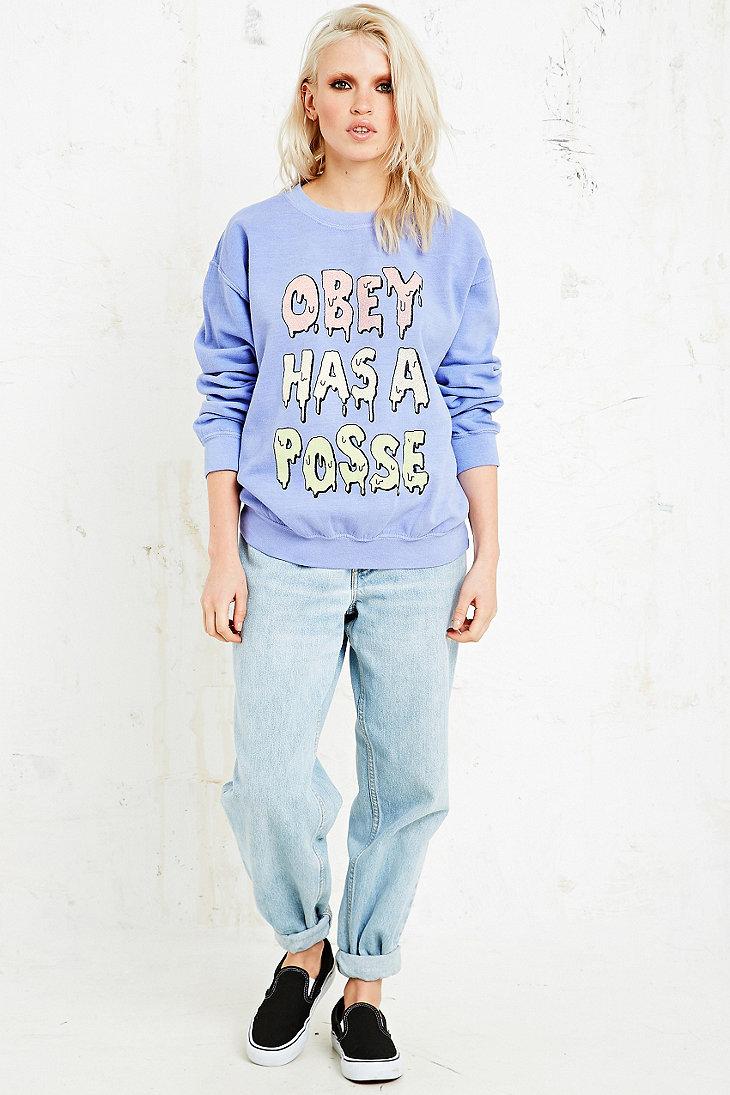 c3b686d4c Obey Has A Posse Sweatshirt in Purple - Lyst