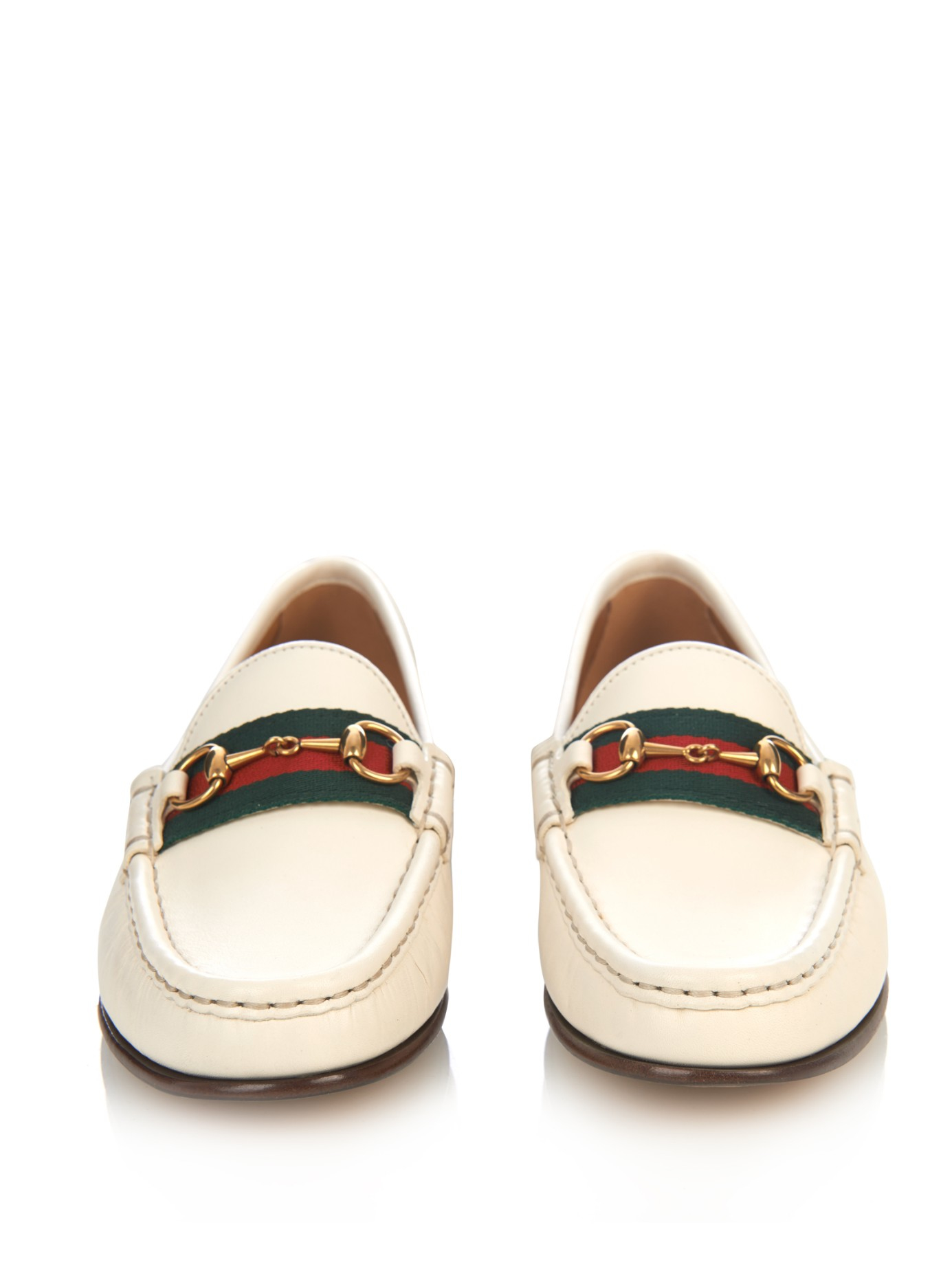 6a7b5d246fdc Lyst - Gucci Horsebit and Web Leather Loafers in White