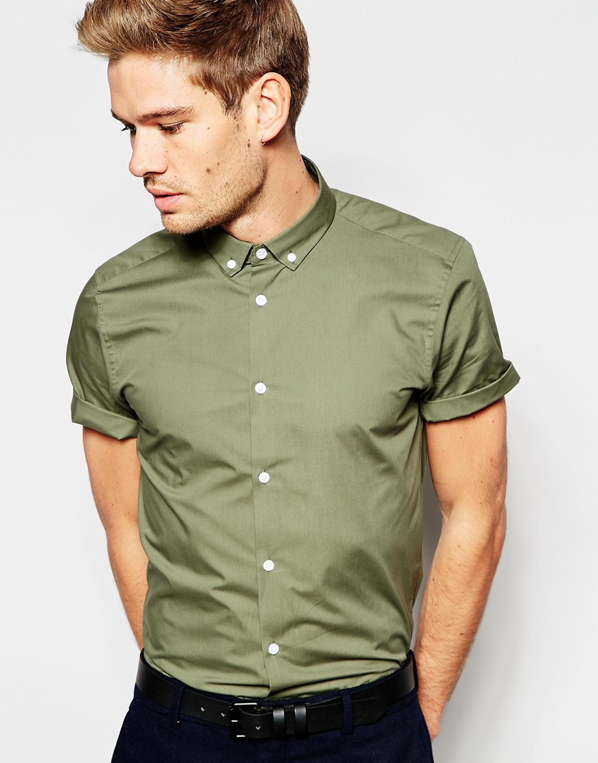 Asos Smart Shirt In Light Khaki With Button Down Collar In