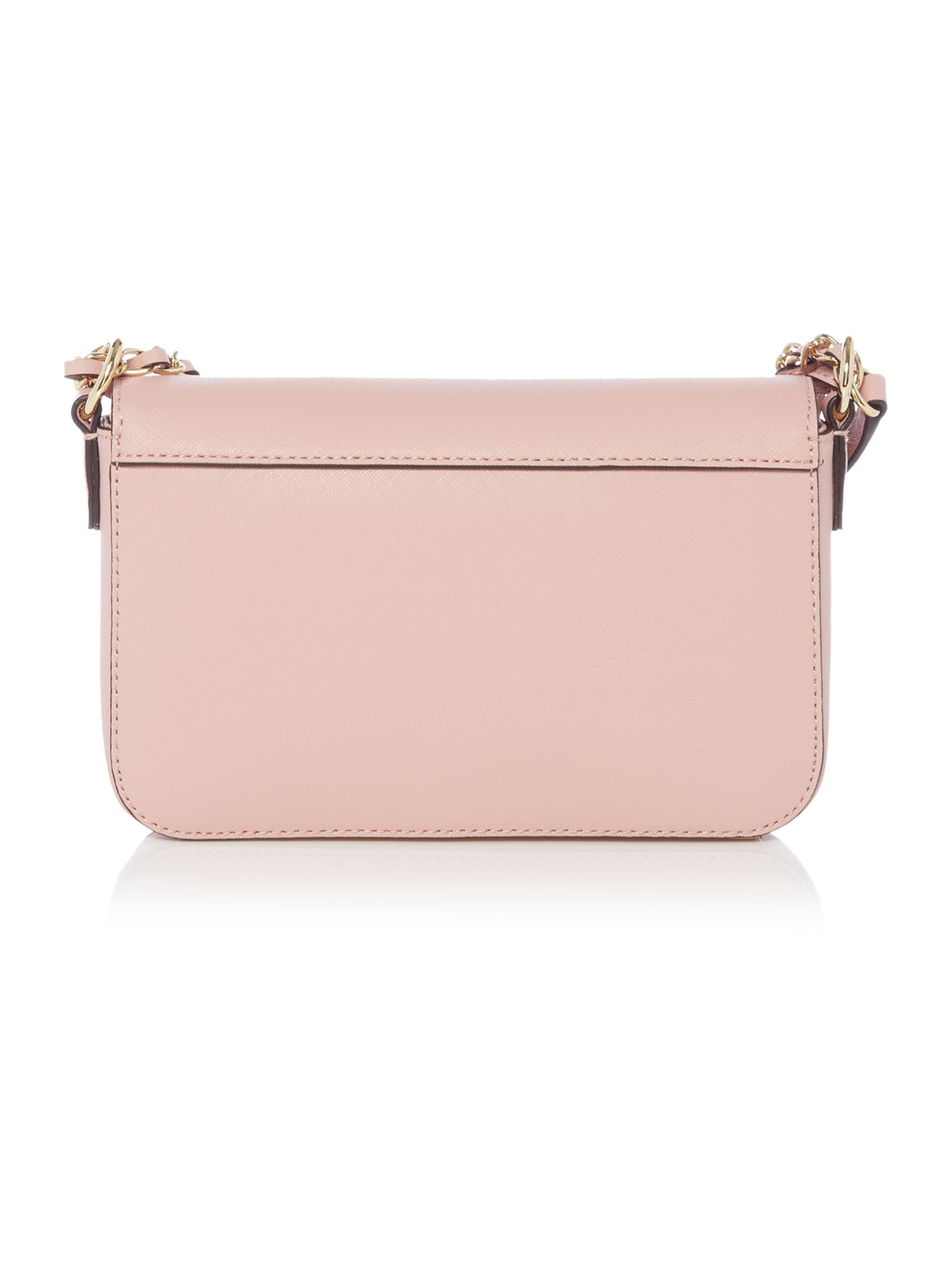dkny saffiano light pink small flap crossbody bag in