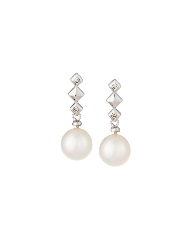 belpearl 14k white gold pearl drop earrings in