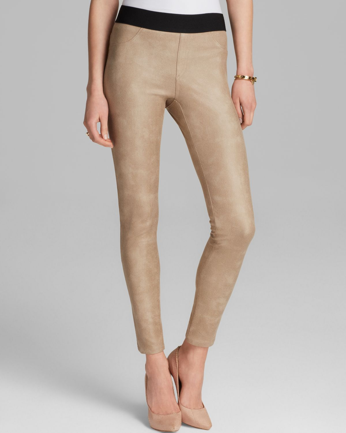 Karen Kane Faux Leather Leggings In Natural Lyst
