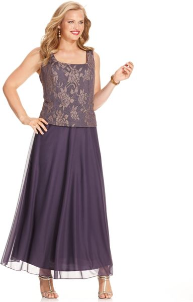 Patra Plus Metallic Lace Dress And Jacket In Purple Lyst