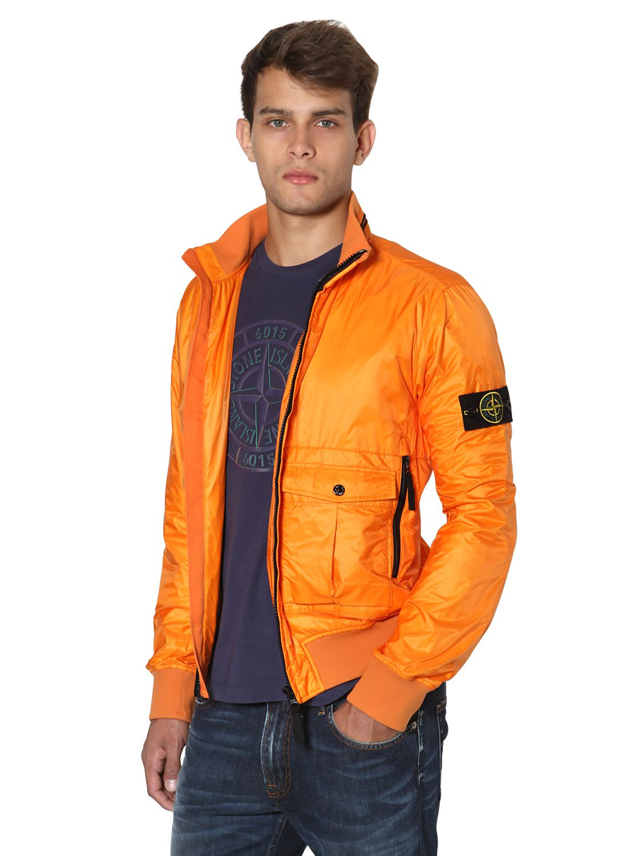 Stone Island Micro Ripstop Tyvek Shield Casual Jacket In Orange For Men Lyst