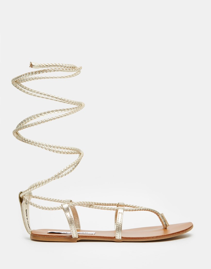 ddbad54e78a Lyst - Steve Madden Werkit Gold Tie Up Sandals in Metallic