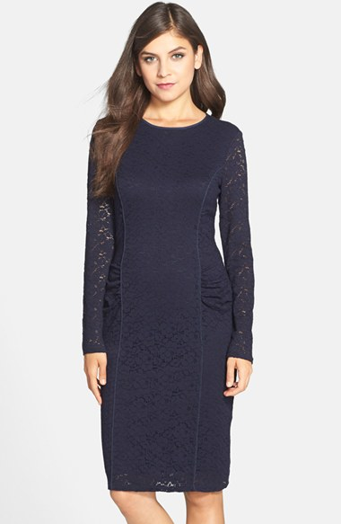 Vince camuto Long Sleeve Lace Sheath Dress in Blue | Lyst
