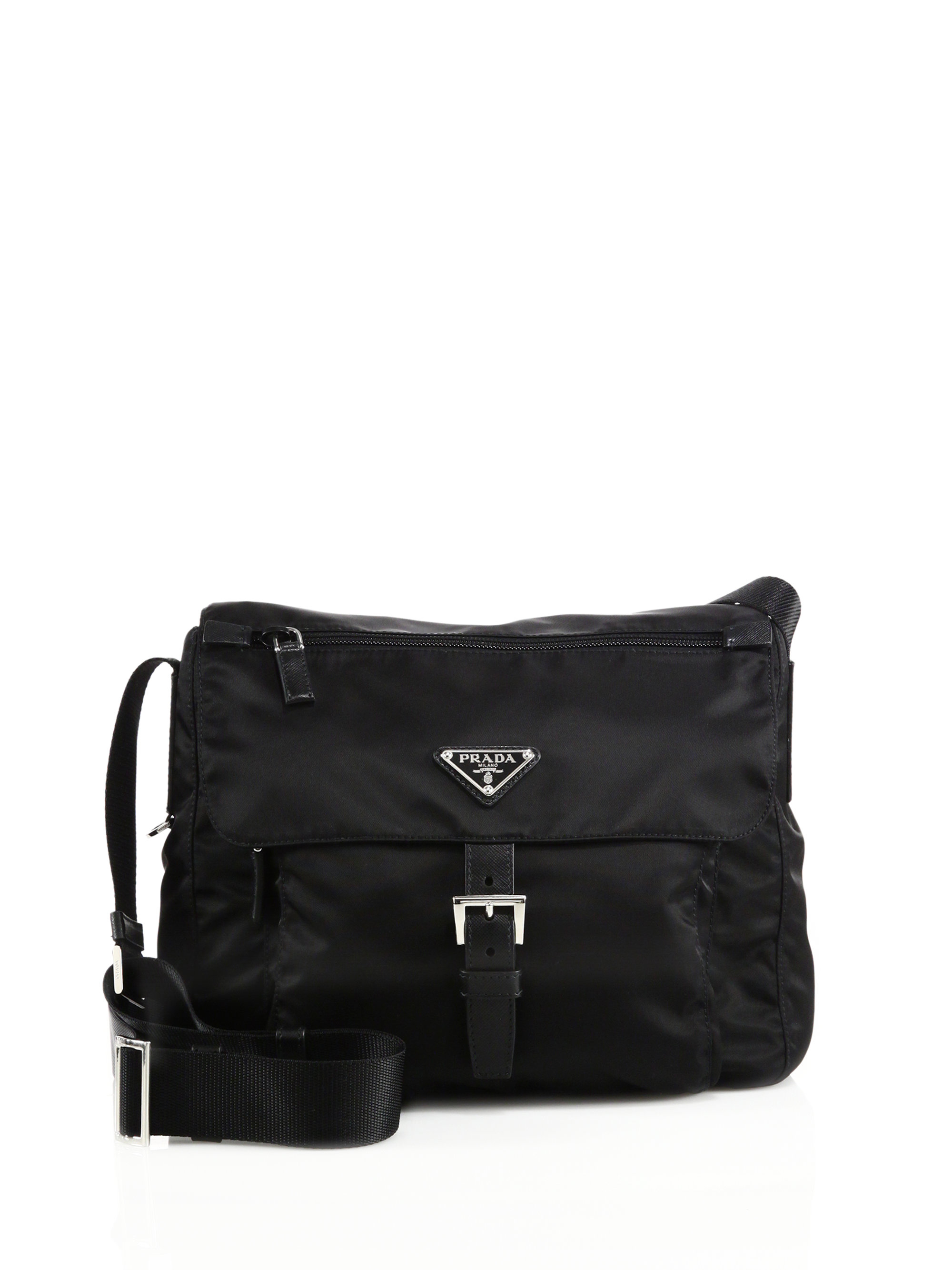 prada handbag prices - Prada Nylon & Leather Crossbody Bag in Black | Lyst