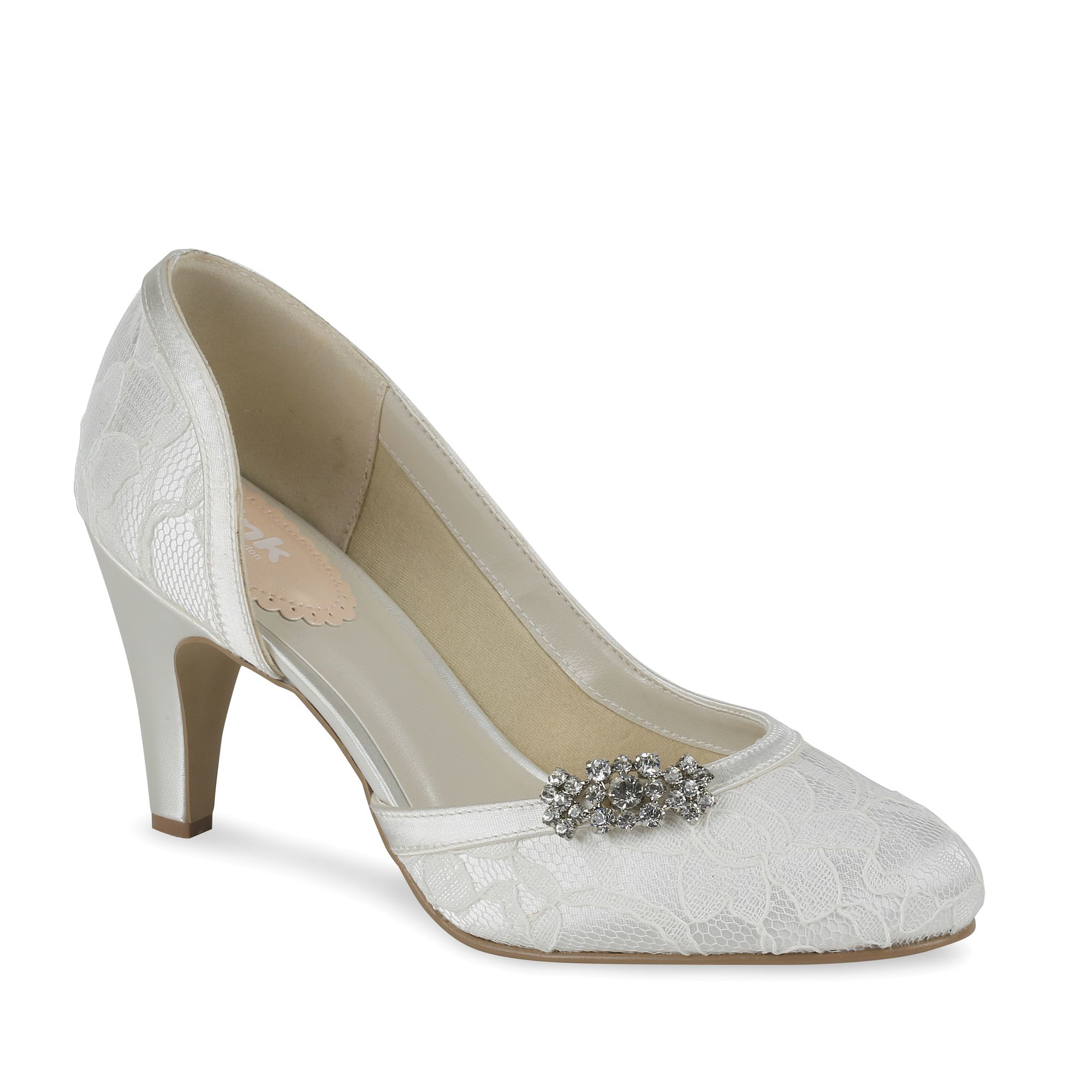Paradox London Pink Lace Covered Round Toe Shoes In White
