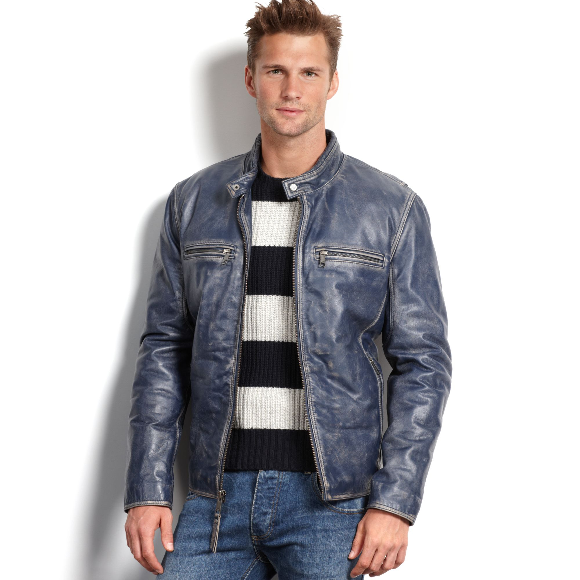 Lyst Marc New York Ryder Distressed Calf Leather Moto
