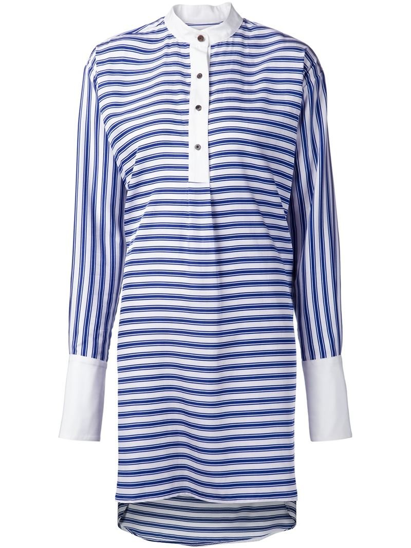 Lyst rosetta getty band collar striped shirt dress in blue for Blue and white striped shirt with white collar