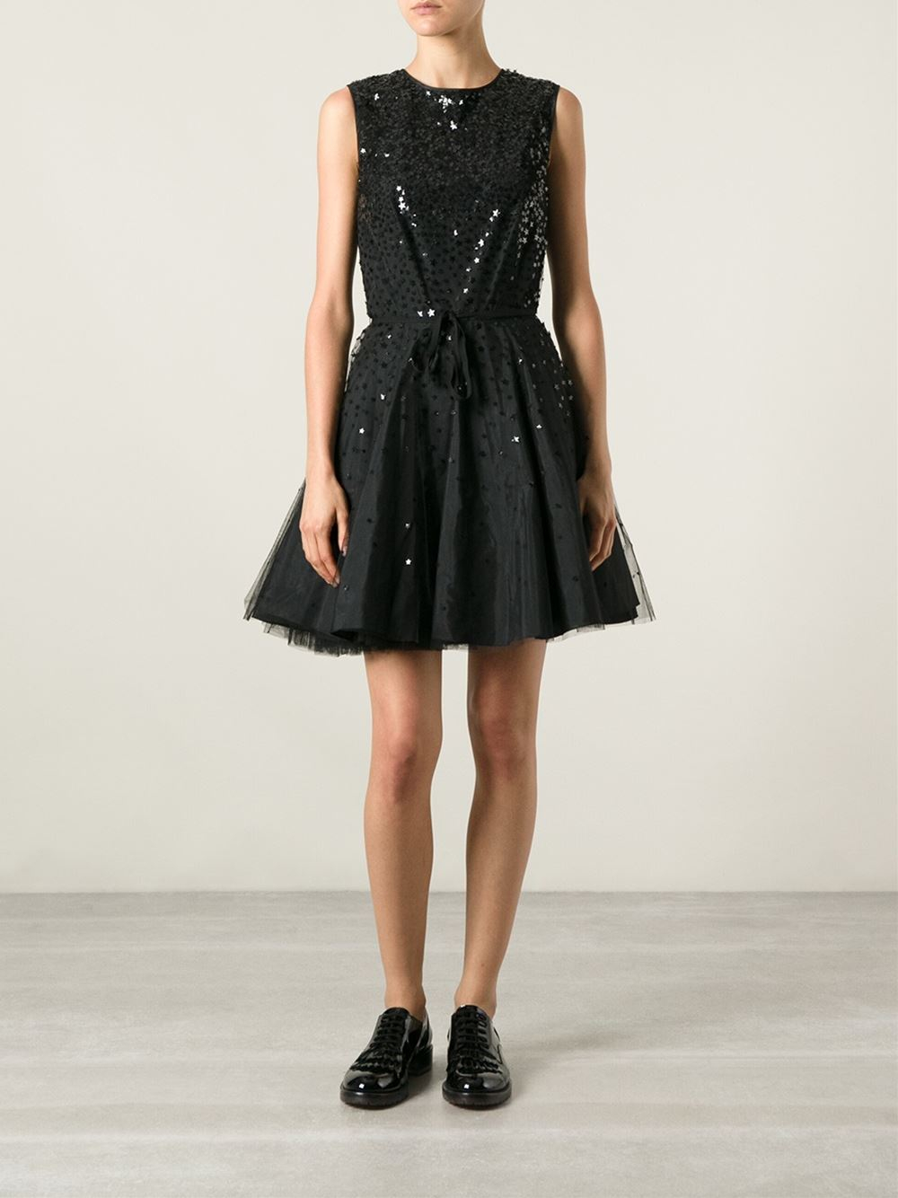 Red valentino sequin voile maxi dress