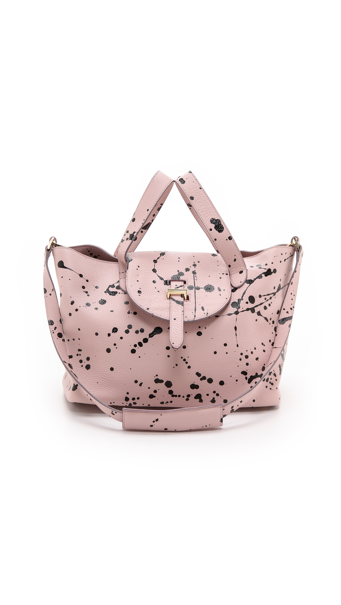 lyst meli melo paint splatter thela medium bag dusty pink splatter in pink. Black Bedroom Furniture Sets. Home Design Ideas