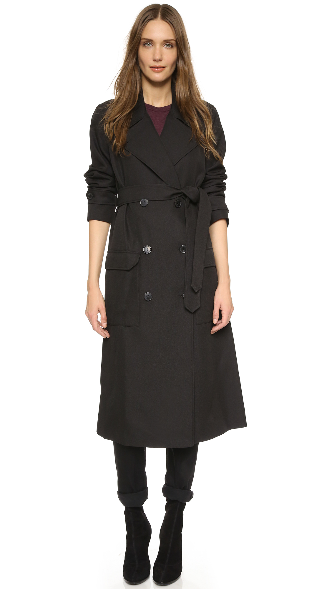 lyst t by alexander wang sleek twill trench coat in black. Black Bedroom Furniture Sets. Home Design Ideas