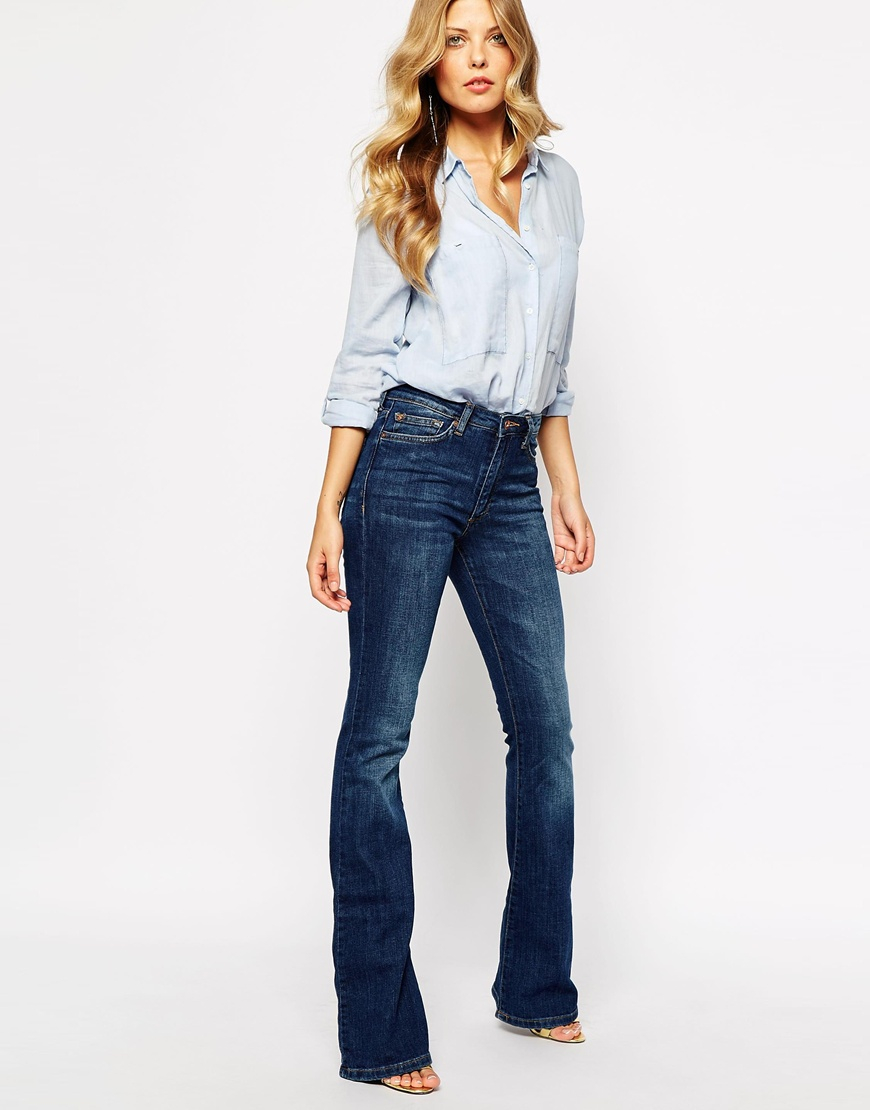 Mango Midwash 70's Flare Jeans in Blue | Lyst