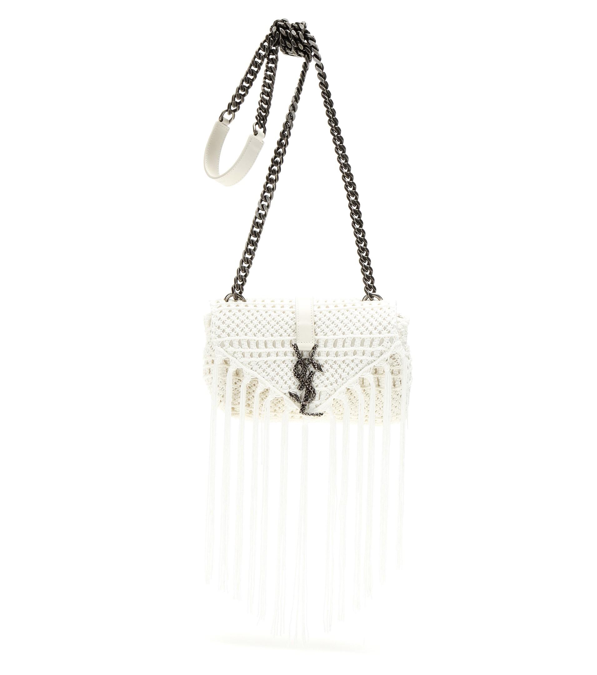Lyst - Saint Laurent Monogram Baby Crochet-knit Shoulder Bag in Natural f477be201e00c