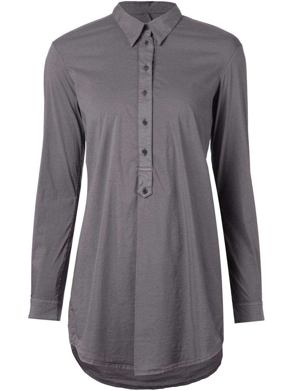 Transit long sleeve polo shirt in gray grey lyst for Grey long sleeve shirts