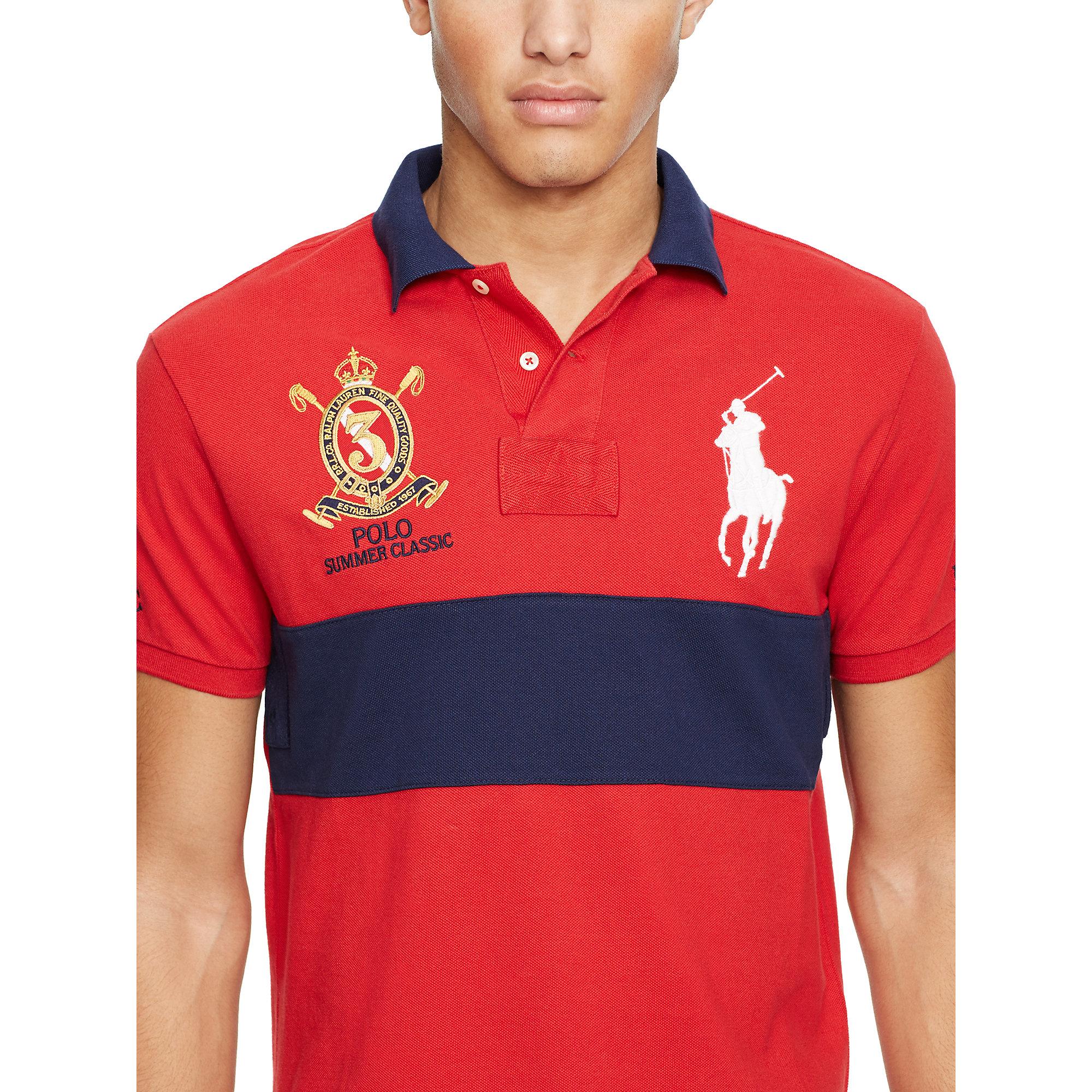 Lyst polo ralph lauren custom fit big pony polo shirt in for Custom design polo shirts