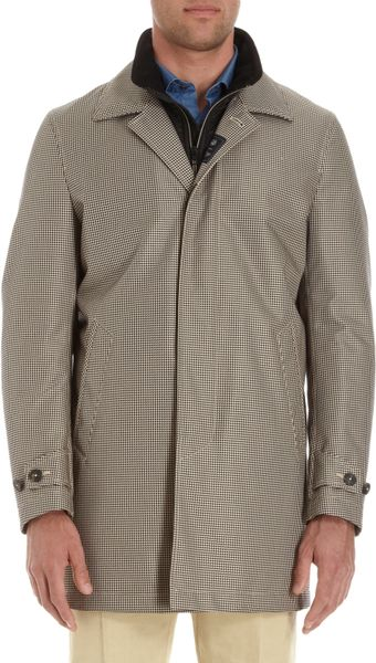 Fay Puppytooth Faux Gilet Top Coat In Gray For Men Black