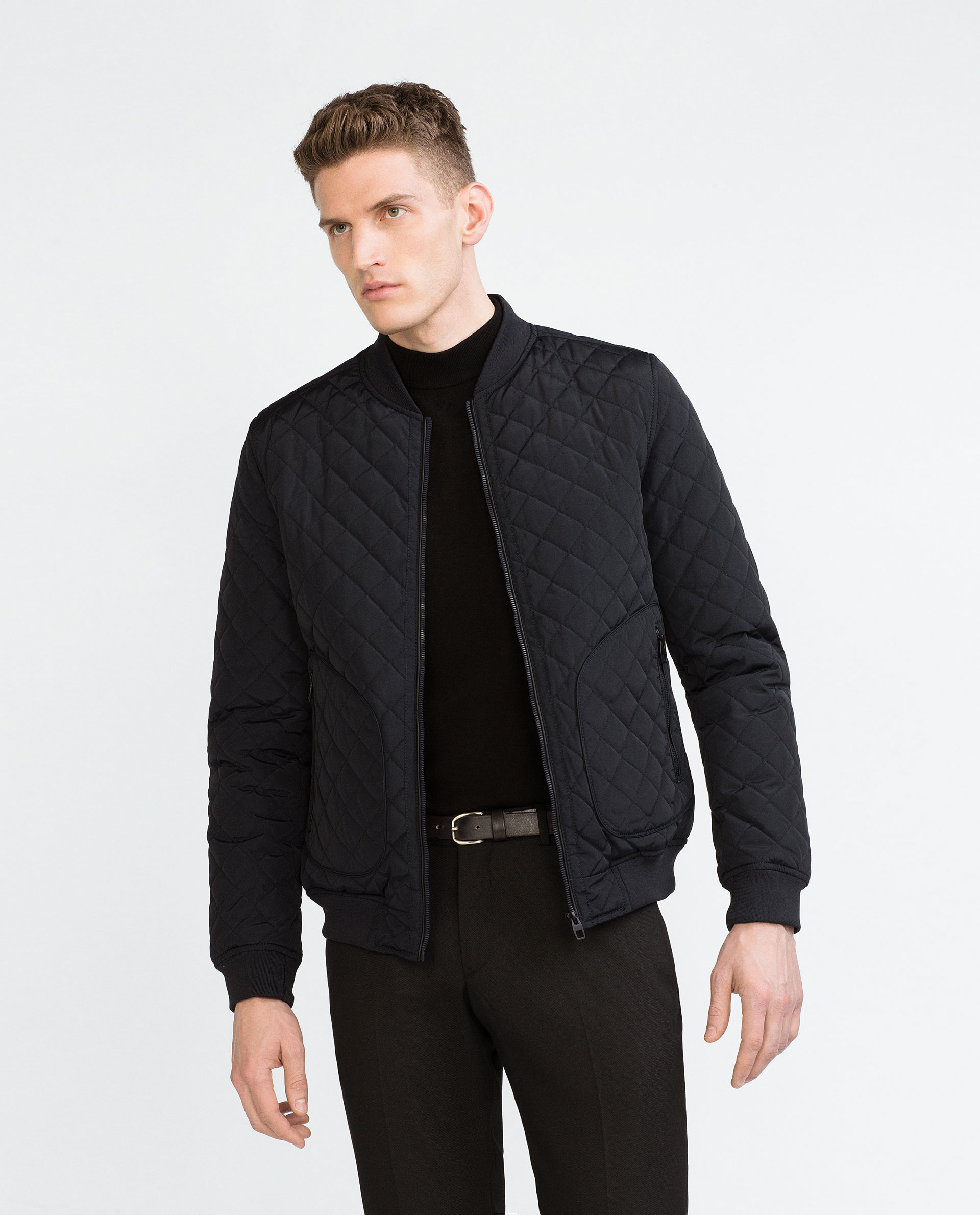Zara Quilted Bomber Jacket in Blue for Men | Lyst