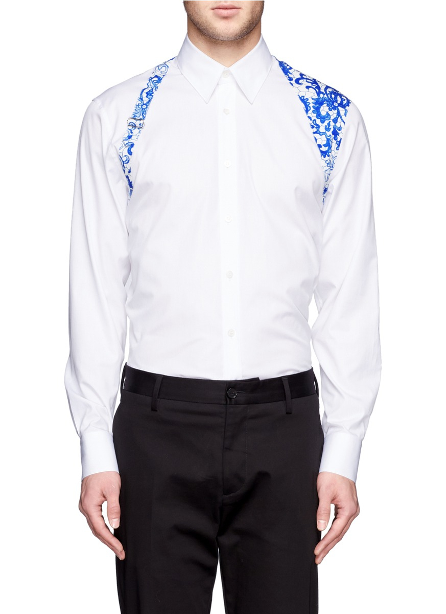 Lyst alexander mcqueen lace harness shirt in white for men for Alexander mcqueen shirt men