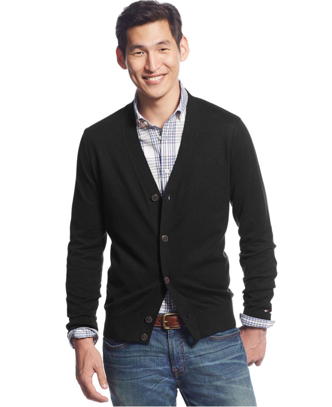 Tommy hilfiger Signature Solid Cardigan in Black for Men | Lyst