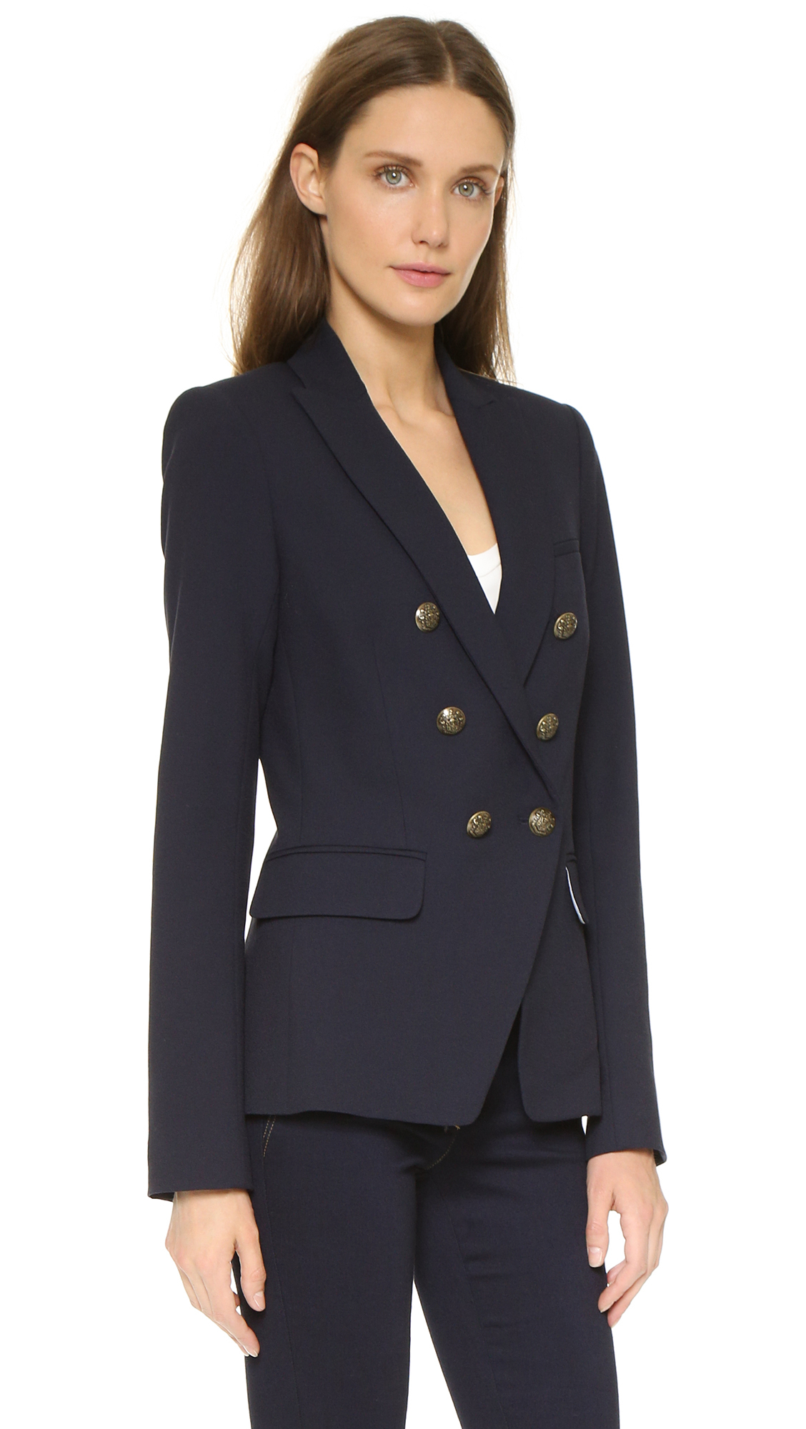 Veronica beard Captain Double Breasted Jacket - Navy in Blue | Lyst