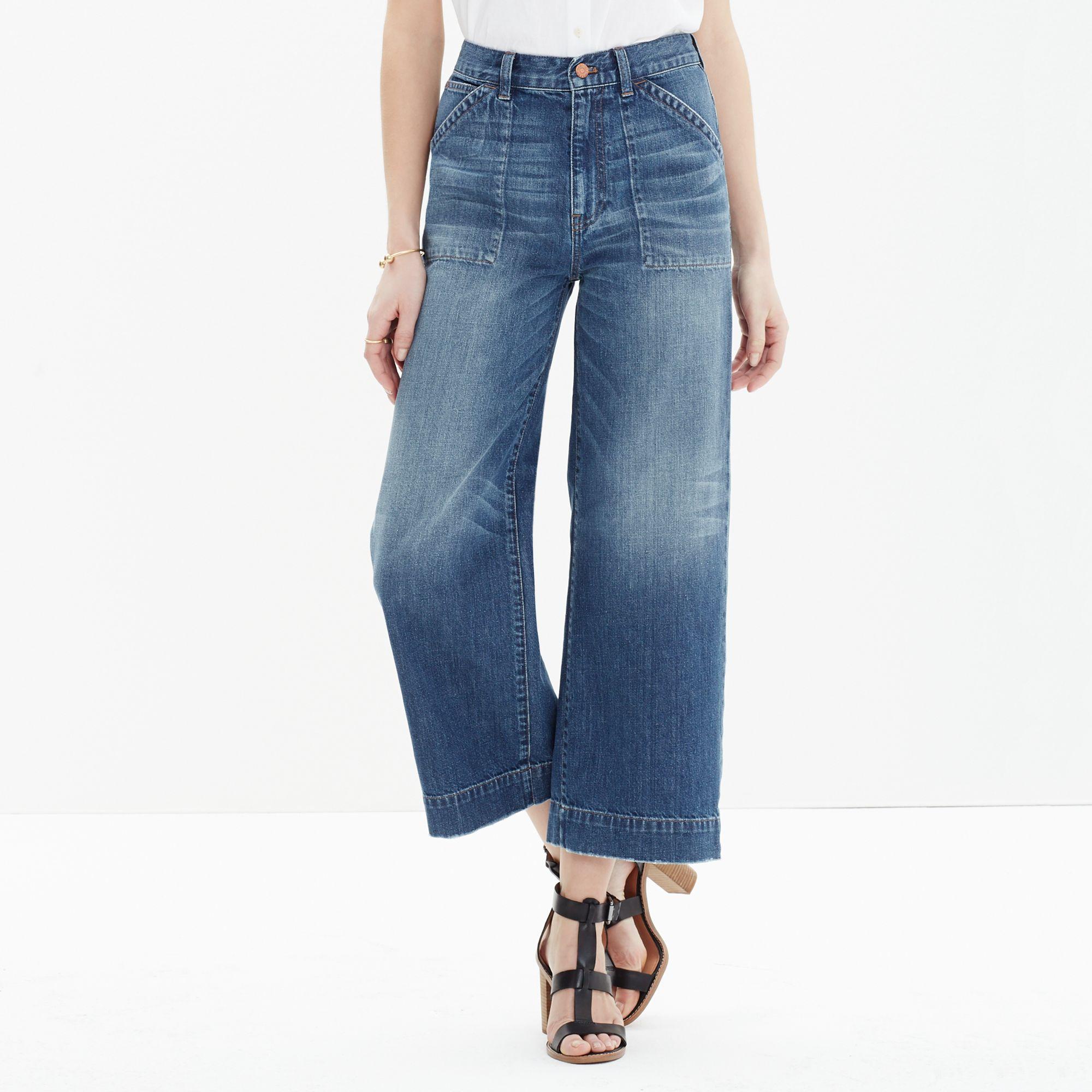 Madewell Wide-leg Crop Jeans in Blue | Lyst
